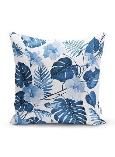 Real Homes Mavi Amazon Yaprakları Özel Tasarımlı Dekoratif Yastık Kırlent Kılıfı Renkli